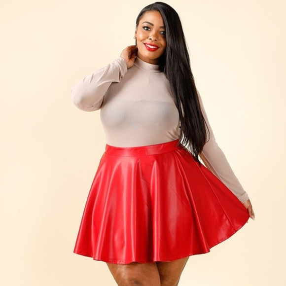 the best attitude 60% cheap purchase newest 1x-3x New Plus Size PU Skater Skirt Boutique
